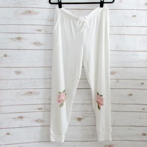 Chaser Ivory Cozy Jogger Pants with Rose Graphic